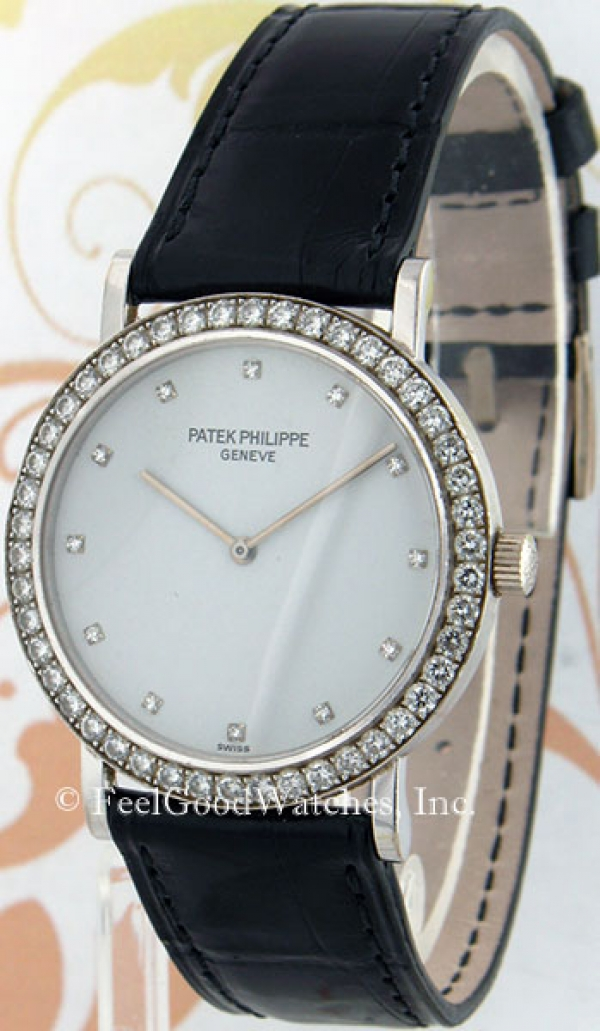 Patek Philippe 5006G Calatrava, White Gold, Diamond Bezel